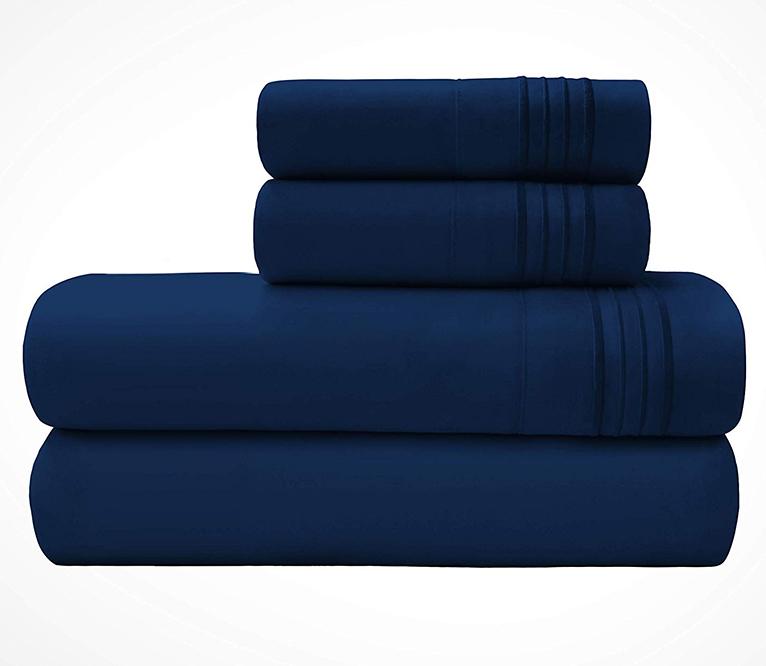 Microfiber Sheet In Navy Blue